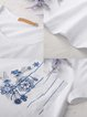 White H-line Crew Neck Floral Short Sleeve T-Shirt