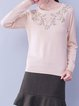 Apricot Cotton-blend Embroidered Long Sleeve Long Sleeved Top