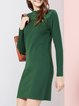 Green Lace Paneled Plain H-line Casual Mini Dress