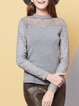 Lace Paneled H-line Stand Collar Casual Long Sleeved Top