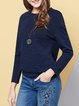 Crew Neck Long Sleeve Plain Casual Long Sleeved Top