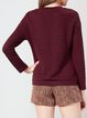 Burgundy H-line Long Sleeve Plain Crew Neck Long Sleeved Top
