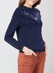 Printed Long Sleeve Casual Cotton-blend H-line Long Sleeved Top