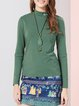 Green Casual H-line Long Sleeved Top