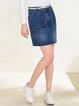 Blue Casual Pockets Denim Mini Skirt
