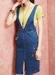 Dark Blue Cotton Casual Midi Dress