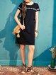 Black Short Sleeve H-line Spandex Crew Neck Midi Dress