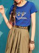 Casual Printed Crew Neck H-line Short Sleeve T-Shirt