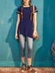 Navy Blue Casual Embroidered Asymmetrical Tunic