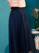 Royal Blue A-line Casual Midi Skirt