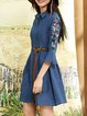 Blue Bell Sleeve Embroidered Cotton Shirt Collar Midi Dress