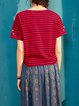 Red Casual Stripes Cotton Crew Neck T-Shirt