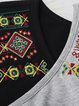 Crew Neck Cotton Long Sleeve Embroidered Top
