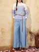 Light Blue Washed Lyocell Casual Solid Wide Leg Pants