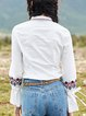 White Long Sleeve Shirt Collar Cotton Blouse