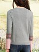 Casual Long Sleeve Embroidered Solid Sweater