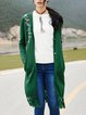 Dark Green Casual H-line Embroidered Cardigan