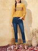 Yellow Printed Bell Sleeve Crew Neck Cotton Long Sleeved Top