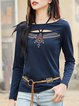 Navy Blue H-line Long Sleeve Keyhole Solid Long Sleeved Top
