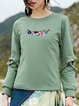 Solid Cotton Crew Neck Long Sleeve Casual Long Sleeved Top