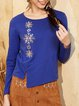 Navy Blue Long Sleeve Solid Long Sleeved Top