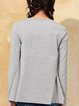Gray Solid Casual Long Sleeved Top