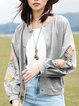 Gray Cotton Solid Lapel Casual Bomber Jacket