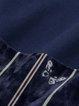Navy Blue Paneled Long Sleeve Midi Velvet Dress
