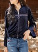 Stand Collar Casual Solid Long Sleeve Embroidered Cropped Jacket