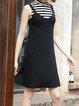 Black A-line Casual Knitted Paneled Stripes Midi Dress