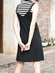 Black A-line Casual Knitted Paneled Stripes Midi Dress