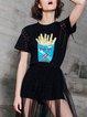 Black Short Sleeve H-line Lace Up Sequins Cotton-blend T-Shirt