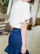 Casual Cotton-blend Frill Sleeve T-Shirt
