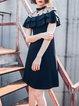 Black Mesh Paneled A-line Ruffled Shorts Sleeve Party Dress