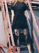 Shirred Black Crew Neck Shirred Casual Midi Dress