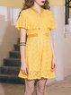 Guipure Sweet Frill Sleeve V Neck Ruffled Mini Dress