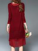 Plus Size Stand Collar Long Sleeve Guipure Lace Solid Elegant Cocktail Dress