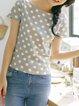 Polka Dots Shorts Sleeve Simple T-Shirt