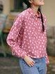 Shirt Collar Printed Casual Cotton Top