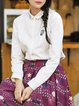 Cotton Long Sleeve Casual Patch Shirt Collar Blouse