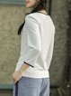 White V Neck Casual Long Sleeved Top