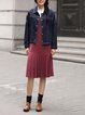 Blue Floral Shirt Collar Long Sleeve Embroidered Coat