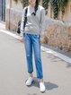 Gray Intarsia Casual Cotton Crew Neck Sweater