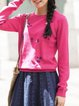 Embroidered Long Sleeve Casual Crew Neck Sweater