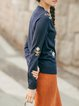 Acrylic Casual Floral Long Sleeve V Neck Sweater
