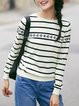 Printed Long Sleeve Cotton Casual Stripes Sweater