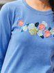 Cotton Long Sleeve Embroidered Crew Neck Sweater