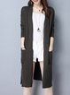 Long Sleeve Slit Solid Cotton Cardigan