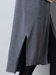 Slit Solid Casual Long Sleeve Cardigan