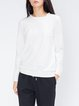 Zipper Crew Neck H-line Casual Cotton  Long Sleeved Top